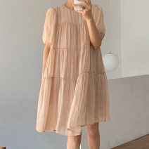 Dress Summer 2021 Picture color Average size Short skirt singleton  Short sleeve commute Crew neck Loose waist Solid color Socket other puff sleeve Others 18-24 years old Korean version 31% (inclusive) - 50% (inclusive) other other