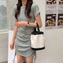Dress Summer 2020 Black, flower grey Average size Middle-skirt singleton  Short sleeve commute Crew neck Loose waist Solid color Socket other routine Others 18-24 years old Type H Korean version 31% (inclusive) - 50% (inclusive) other other