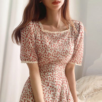 Dress Summer of 2019 white Average size longuette singleton  Short sleeve commute square neck High waist Decor Socket other routine Others 18-24 years old Type A Korean version Chiffon