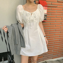 Dress Summer 2021 Black, white S,M,L,XL Short skirt singleton  Short sleeve commute other High waist Solid color Socket A-line skirt puff sleeve Others 18-24 years old Type A Korean version 31% (inclusive) - 50% (inclusive) other other