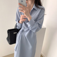 Dress Summer 2020 Black, blue Average size Mid length dress singleton  Short sleeve commute other High waist Solid color Single breasted other routine Others 18-24 years old Korean version 31% (inclusive) - 50% (inclusive) other other