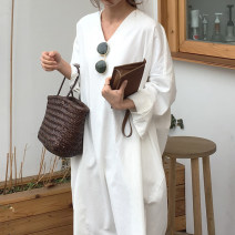 Dress Autumn 2020 white Average size Mid length dress singleton  Long sleeves commute V-neck Loose waist Solid color Socket other routine Others 18-24 years old Type H Korean version 31% (inclusive) - 50% (inclusive) other other