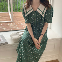 Dress longuette Short sleeve High waist Single breasted puff sleeve 18-24 years old Korean version other Summer 2021 singleton  commute other other 31% (inclusive) - 50% (inclusive) Other summer One size fits all