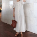 Dress Summer 2021 White, blue Average size longuette singleton  three quarter sleeve commute Crew neck Loose waist Solid color Single breasted other puff sleeve Others 18-24 years old Type H Korean version Button 31% (inclusive) - 50% (inclusive) other cotton