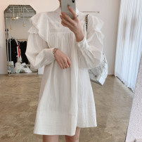 Dress Autumn 2020 Average size Middle-skirt singleton  Long sleeves commute stand collar Loose waist Solid color Socket other bishop sleeve Others 18-24 years old Type A Korean version 31% (inclusive) - 50% (inclusive) other other