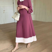 Dress Autumn 2020 Black, red Average size longuette singleton  three quarter sleeve commute Doll Collar Loose waist other Socket Pleated skirt routine Others 18-24 years old Korean version 31% (inclusive) - 50% (inclusive) other other
