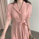 Dress Summer 2021 Average size Mid length dress singleton  Short sleeve commute tailored collar High waist Solid color Single breasted A-line skirt puff sleeve Others 18-24 years old Type A Korean version 31% (inclusive) - 50% (inclusive) other other