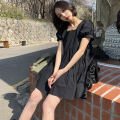 Dress Summer 2020 black Average size Short skirt singleton  Short sleeve commute square neck Loose waist Solid color Socket Cake skirt puff sleeve Others 18-24 years old Type A Korean version 31% (inclusive) - 50% (inclusive) other other