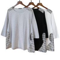T-shirt Black, gray, white M-L Spring 2020 three quarter sleeve Crew neck easy Medium length routine cotton 96% and above Qingguyu