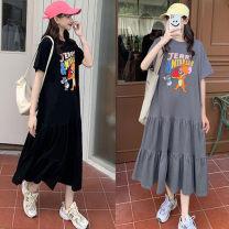 Dress Other / other Gray, black 50. XL, XXL, XXXL, large 4XL Korean version Short sleeve Medium length summer Crew neck Cartoon animation Pure cotton (95% and above)