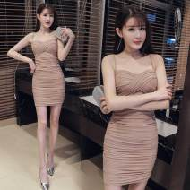 Dress Summer of 2019 khaki S,M,L Short skirt singleton  Sleeveless One word collar middle-waisted Solid color other other Others three point one six