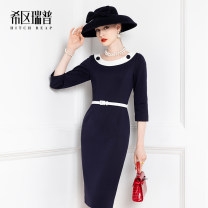 Dress Spring 2021 Tibetan blue with white and blue XS S M L XL Mid length dress singleton  Long sleeves commute Crew neck middle-waisted Solid color zipper Pencil skirt routine Others 30-34 years old Type H Heathcliff Ol style Stitched button zipper F1326 30% and below other nylon