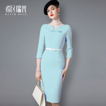 Dress Spring 2021 Light blue (some pre-sale after April 15) light pink (some pre-sale after April 15) XS S M L XL Mid length dress singleton  three quarter sleeve commute V-neck middle-waisted Solid color zipper Pencil skirt routine Others 30-34 years old Type H Heathcliff Ol style Bow zipper F1305