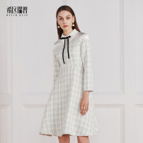 Dress Spring of 2019 White pink XS S M L XL Mid length dress singleton  Long sleeves commute Polo collar middle-waisted other zipper A-line skirt routine Others 30-34 years old Type A Heathcliff lady Splicing F0746 More than 95% other polyester fiber Polyester 97% other 3%