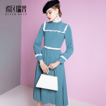Dress Spring 2021 Morandi green XS S M L XL longuette singleton  Long sleeves commute stand collar middle-waisted Solid color zipper Big swing bishop sleeve Others 30-34 years old Type X Heathcliff Retro Button zipper with ruffle and Auricularia auricula F1358 More than 95% other polyester fiber