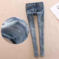Jeans Autumn of 2019 blue 24 = 1-7, 25 = 1-8, 26 = 1-9, 27 = 2-1, 28 = 2-1, 29 = 2-2, 30 = 2-3, 31 = 2-4 Ninth pants Natural waist Pencil pants routine 18-24 years old Old button, wash, wash, make zipper Cotton denim light colour 91% (inclusive) - 95% (inclusive)