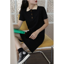 Dress Summer 2021 Black, pink S,M,L Mid length dress singleton  Short sleeve commute Polo collar Loose waist Solid color Socket other routine Others 18-24 years old Type H Korean version Splicing 51% (inclusive) - 70% (inclusive) other cotton