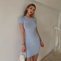Dress Summer 2020 Black, white, blue, medium grey, apricot grey, grey coffee S, M Short skirt singleton  Short sleeve street Crew neck High waist Solid color Socket One pace skirt routine 91% (inclusive) - 95% (inclusive) other cotton Europe and America