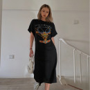 Dress Summer 2020 black S,M,L Mid length dress singleton  Short sleeve street Crew neck High waist Socket routine Others cotton Europe and America