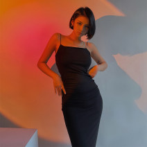 Dress Spring 2021 Black, Khaki S, M longuette singleton  Sleeveless street other High waist Solid color Socket One pace skirt routine camisole Type X 51% (inclusive) - 70% (inclusive) other nylon Europe and America