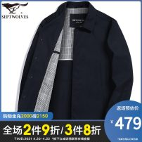 Windbreaker Navy Khaki Septwolves Business gentleman 165/84A/M 170/88A/L 175/92A/XL 180/96A/XXL 185/100A/XXXL 190/104A/XXXXL Single breasted Medium length easy Travel? spring middle age Lapel Business Casual Other 100% Solid color Thread embedding and bag digging Spring 2021