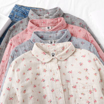 shirt Watermelon red, off white, gray blue L, M Spring 2021 cotton 96% and above Long sleeves Sweet Regular Polo collar Single row multi button routine Broken flowers Straight cylinder solar system