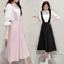 Casual pants Pink (suspenders), black (suspenders), white (shirt) XS 80-100kg, s 100-110kg, m 110-120kg, l 120-130kg, XL 130-140kg Summer of 2018 Cropped Trousers Wide leg pants High waist commute routine polyester fiber Korean version straps