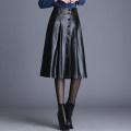skirt Autumn 2020 M,L,XL,2XL,3XL,4XL black longuette commute High waist A-line skirt Solid color Type A PU Button Korean version