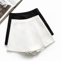 Casual pants White, black XS,S,M,L,XL,2XL Summer 2021 shorts Wide leg pants High waist commute Thin money Cotton blended fabric Korean version zipper polyester fiber Asymmetry