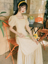 Dress Summer 2020 Pale yellow S,M,L Mid length dress singleton  Short sleeve commute square neck High waist Solid color A-line skirt puff sleeve Others Type A Retro Lotus leaf edge