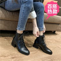 Boots 34,35,36,37,38,39,40 black Superfine fiber Other / other Middle heel (3-5cm) Thick heel Superfine fiber Short tube Round head PU PU Autumn 2020 Sleeve Britain rubber Solid color Knights' boots Adhesive shoes winter