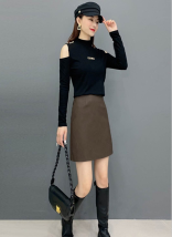 "T-shirt Black T-shirt, blue T-shirt, coffee T-shirt, black leather skirt, khaki leather skirt, blue suit, coffee suit, black suit S ""80-95 Jin"", M ""96-106 Jin"", l ""106-120 Jin"", XL ""120-135 Jin"", 2XL ""135-145 Jin"" Autumn 2020 Long sleeves Half high collar easy Regular routine commute other other"