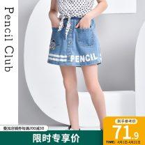skirt 110cm,120cm,130cm,140cm,150cm,160cm,170cm Denim blue Pencil Club female Cotton 99.2% polyurethane elastic fiber (spandex) 0.8% spring and autumn leisure time other Denim skirt other Class B