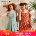 one piece  Gaingel S M L XL Green lattice Caramel spot One piece flat corner swimsuit With chest pad without steel support YWO21006 Spring 2021 yes female Short sleeve Casual swimsuit