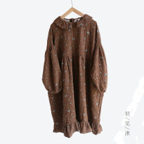 Dress Autumn 2020 Grey, brown Average size longuette singleton  Long sleeves Sweet Crew neck Loose waist Decor Socket A-line skirt routine 25-29 years old Type A M babyruy printing More than 95% cotton solar system