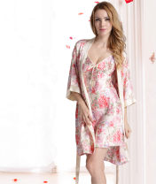 Pajamas / housewear set female Meng Ying M,L,XL,XXL Blue, pink Polyester (polyester) Long sleeves sexy Leisure home spring Thin money V-neck Plants and flowers Socket youth 2 pieces silk printing M151 200g and below Short skirt