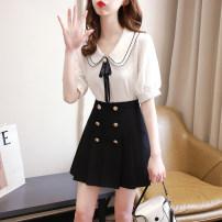 Fashion suit Spring 2021 S,M,L,XL White coat + Black skirt , Pink top + Black skirt , One piece white top , One piece pink top , One piece black skirt 18-25 years old 31% (inclusive) - 50% (inclusive) cotton