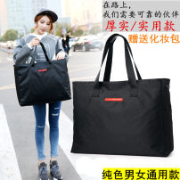 Travel bag canvas nothing Panhong Lettered (new in 2018) black Small, medium and large yes travel Strapless Japan and South Korea Bag type polyester fiber Soft handle Solid color youth Zipper pocket mobile phone bag Splicing sixteen thousand and eighteen female Medium and large
