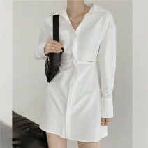 Dress Spring 2021 White, black, brown Average size Middle-skirt singleton  Long sleeves commute Polo collar High waist Solid color Single breasted other routine Others 25-29 years old Type H A202161 51% (inclusive) - 70% (inclusive) other polyester fiber
