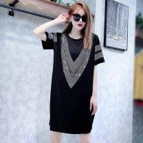Dress Summer 2021 black Average size Duoduo ~ 4365 big V Diamond Dress