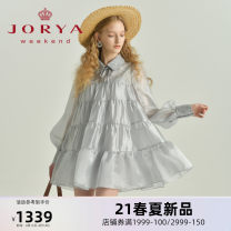 Dress Spring 2021 Silver grey (partial pre-sale, delivery within 30 days after payment) champagne (partial pre-sale, delivery within 30 days after payment) S M L XL Short skirt Long sleeves Sweet Doll Collar middle-waisted A button Cake skirt routine 25-29 years old Type A JORYA weekend EJWBAR13