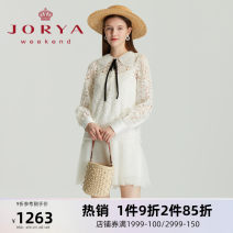 Dress Spring 2021 white S M L XL Short skirt Long sleeves Sweet Doll Collar middle-waisted Single breasted Pleated skirt routine 25-29 years old Type H JORYA weekend Lotus lace EJWBAQ57 More than 95% polyester fiber Polyester 100% princess Same model in shopping mall (sold online and offline)