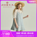 Dress Spring 2021 Light blue (pre-sale, delivery within 30 days after payment) S M L XL Short skirt elbow sleeve Sweet Crew neck middle-waisted A button Ruffle Skirt pagoda sleeve 25-29 years old Type H JORYA weekend Cut out stitching with ruffles EJWBAR21 51% (inclusive) - 70% (inclusive) cotton
