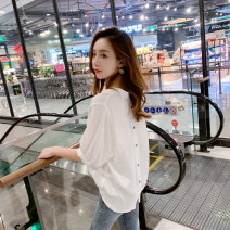 shirt white S,M,L Summer 2020 other 96% and above Short sleeve commute Regular V-neck Socket other Solid color 25-29 years old Straight cylinder Other / other Korean version Button, button Chiffon