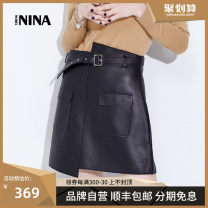 skirt Spring 2021 S M L XL XXL black Short skirt sexy Natural waist Irregular Solid color Type A 25-29 years old NINAPQ1901B More than 95% Sheepskin Nobel Nina other Frenulum Sheepskin Same model in shopping mall (sold online and offline)