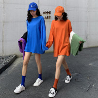 T-shirt Black, white, blue, green, purple, orange Average size Spring 2021 Long sleeves Crew neck easy Medium length routine commute cotton 96% and above 18-24 years old Korean version youth Solid color
