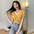 T-shirt Apricot, white, purple, red, yellow, black, fruit green Average size Summer 2021 Short sleeve V-neck Self cultivation have cash less than that is registered in the accounts routine commute other 31% (inclusive) - 50% (inclusive) 18-24 years old Korean version originality Solid color