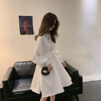 Dress Spring 2021 White, black S,M,L,XL,2XL Middle-skirt singleton  Long sleeves commute V-neck High waist Solid color Socket other routine Others 18-24 years old Type H Other / other Korean version Splicing 71% (inclusive) - 80% (inclusive) other other