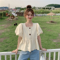 shirt Purple short, green short, apricot short S,M,L Summer 2021 other 71% (inclusive) - 80% (inclusive) Short sleeve commute Short style (40cm < length ≤ 50cm) other other Solid color 18-24 years old Straight cylinder Korean version 4#1