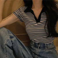 T-shirt stripe S,M,L,XL Summer 2021 Short sleeve Polo collar Self cultivation have cash less than that is registered in the accounts routine commute cotton 86% (inclusive) -95% (inclusive) 18-24 years old Korean version 4¥13